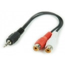 Cable adaptador JACK 3.5mm a 2 x RCA Hembra