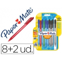 PACK de 10 boligrafos Inkjoy 100RT Papermate, retractil, colores surtidos