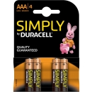 Duracell PACK 4 Pilas AAA LR03 Simply Power Alcalinas MN2400B4S
