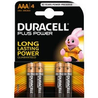 Duracell PACK 4 Pilas AAA LR03 Plus Power Alcalinas MN2400B4