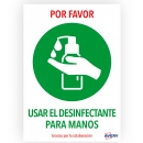 PACK 2 - Señal adhesiva -Usar desinfectante- A4 resistente a los rayos UV (Avery)