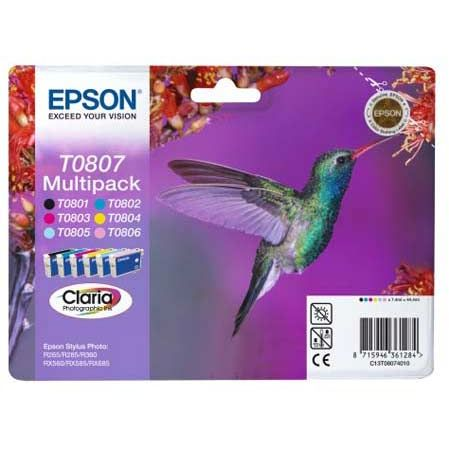 PACK 6 Colores Epson T0807 Original Multi Pack STYLUS PHOTO R265 R360 RX560 C13T080740