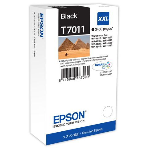 Epson T7011 XXL Original Negro WORKFORCE PRO WP4000 WP4500 WP4525 C13T70114010