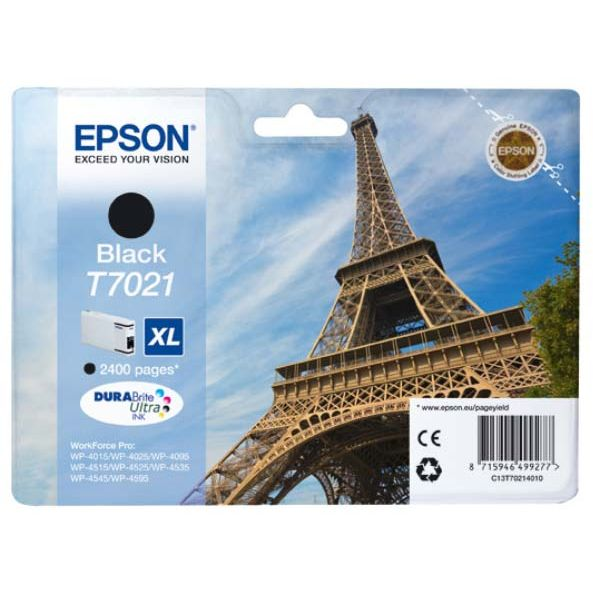 Epson T7021 XL Original Negro WorkForce Pro WP-4000 WP-4500 C13T70214010
