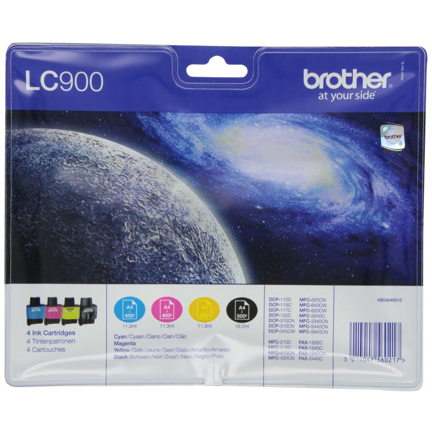 PACK 4 Brother LC900VAL Original Negro + Cian + Magenta + Amarillo LC-900