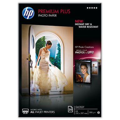 HP Papel fotografico Brillante 300gr Premium Plus Formato A4 - 20 Hojas 210 x 297 mm CR672A
