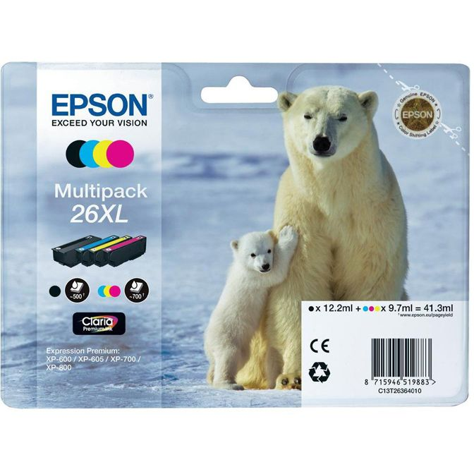 PACK 4 Colores Epson 26XL Original T2636 XP600 XP605 XP700 XP800 C13T26364010