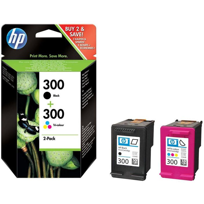 PACK HP 300 Negro + Tricolor Original CN637EE con Vivera Ink D1600 F2480