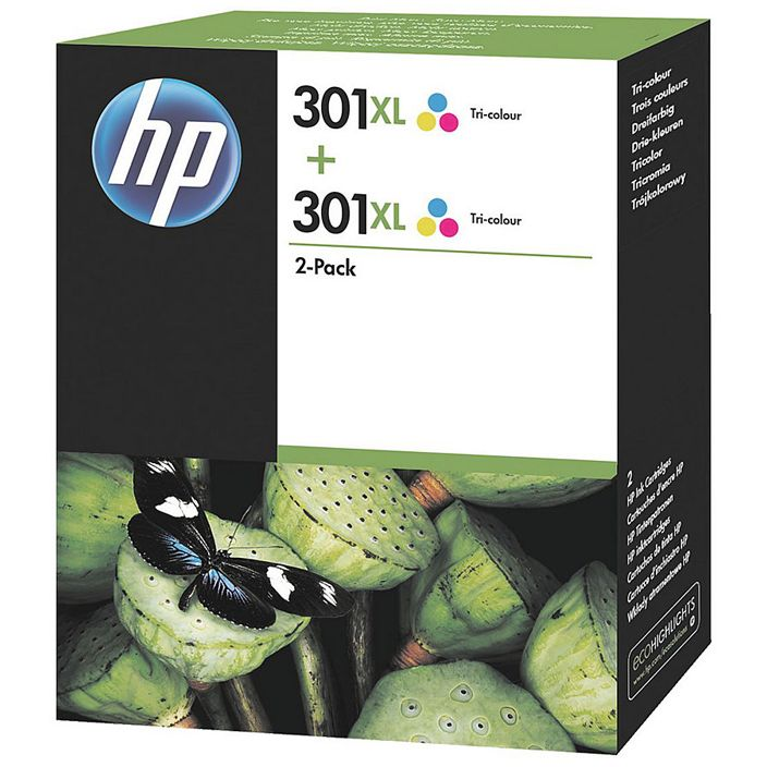 PACK COLOR 2 unidades HP 301XL TriColor Original ALTA CAPACIDAD D8J46AE